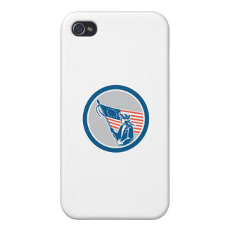 American Serviceman Soldier Flag Circle Retro Cases For iPhone 4