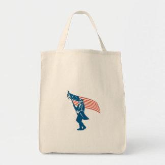 American Serviceman Soldier Waving Flag Retro Tote Bags