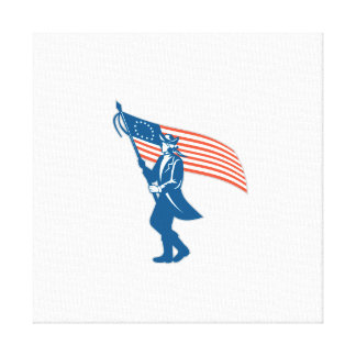 American Serviceman Soldier Waving Flag Retro Stretched Canvas Print