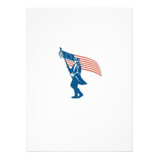 American Serviceman Soldier Waving Flag Retro Custom Invitation