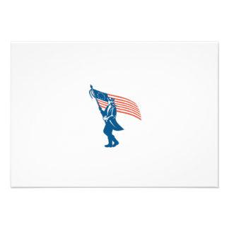 American Serviceman Soldier Waving Flag Retro Personalized Invitations