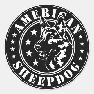 American Sheepdog Patch Classic Round Sticker