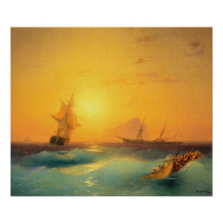 American Shipping Off the Rock of Gibraltar 1873 Poster