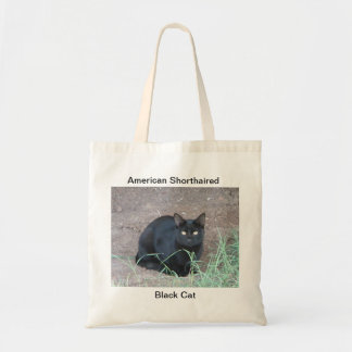 American Shorthaired Black Cat. Budget Tote Bag