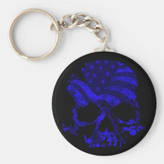 American Skull Blue Key Ring