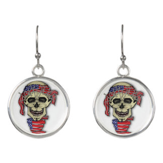 American Skull Earrings