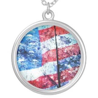 American Skull Flag Necklace