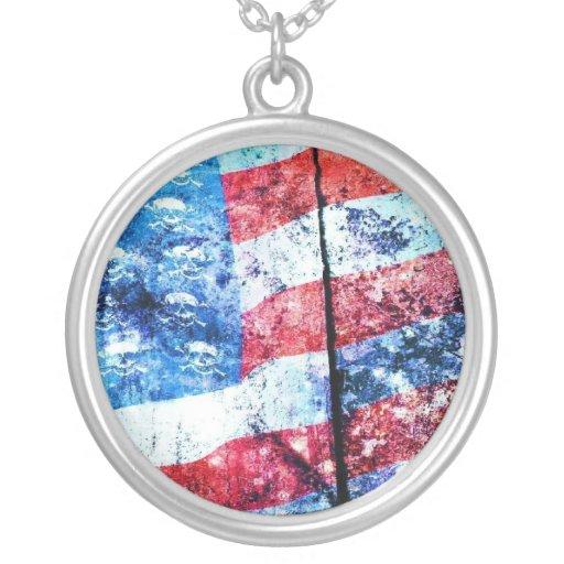 American Skull Flag Necklace