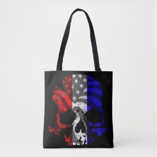American Skull Red White and Blue Tote Bag