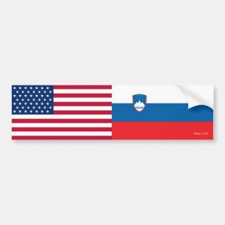 American & Slovenian Flags Bumper Sticker
