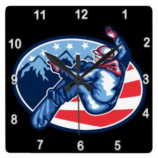 American Snowboarder Square Wall Clock