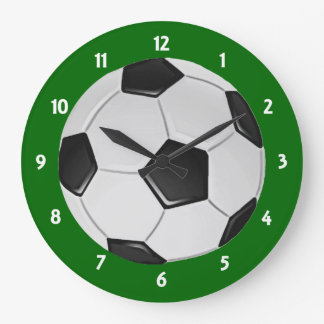 American Soccer or Association Football Ball Large Clock
