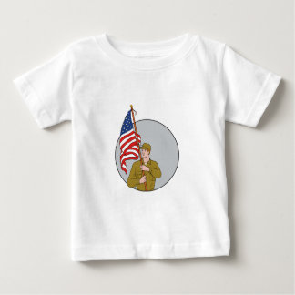 American Soldier Holding USA Flag Circle Drawing Baby T-Shirt