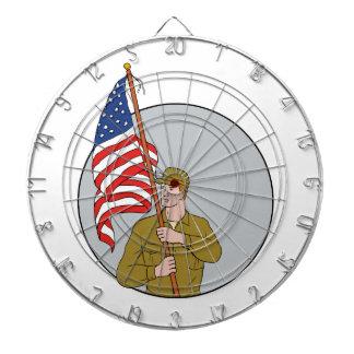 American Soldier Holding USA Flag Circle Drawing Dartboard