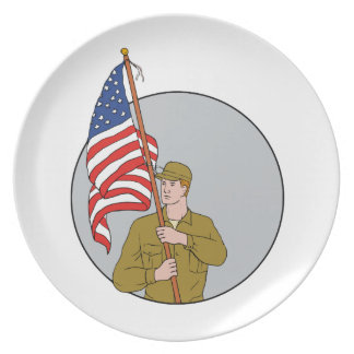 American Soldier Holding USA Flag Circle Drawing Dinner Plates