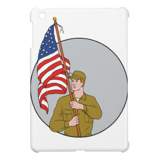 American Soldier Holding USA Flag Circle Drawing iPad Mini Case