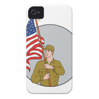 American Soldier Holding USA Flag Circle Drawing iPhone 4 Cover