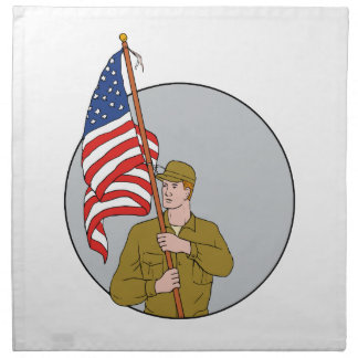American Soldier Holding USA Flag Circle Drawing Napkin