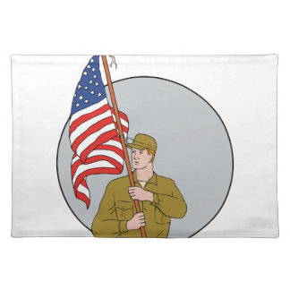 American Soldier Holding USA Flag Circle Drawing Placemat