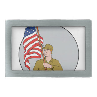 American Soldier Holding USA Flag Circle Drawing Rectangular Belt Buckles