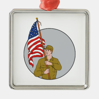 American Soldier Holding USA Flag Circle Drawing Silver-Colored Square Decoration