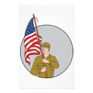 American Soldier Holding USA Flag Circle Drawing Stationery