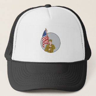 American Soldier Holding USA Flag Circle Drawing Trucker Hat
