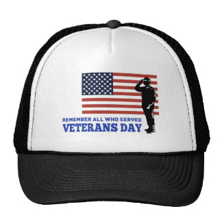 American soldier salute flag veterans day hat