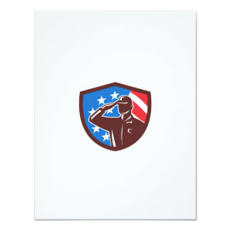 American Soldier Saluting USA Flag Crest Retro Card