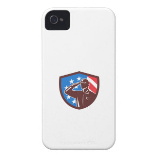 American Soldier Saluting USA Flag Crest Retro Case-Mate iPhone 4 Cases
