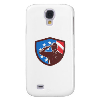 American Soldier Saluting USA Flag Crest Retro Galaxy S4 Case