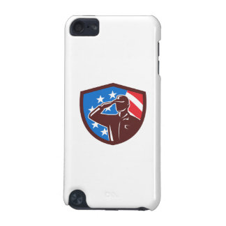 American Soldier Saluting USA Flag Crest Retro iPod Touch (5th Generation) Case