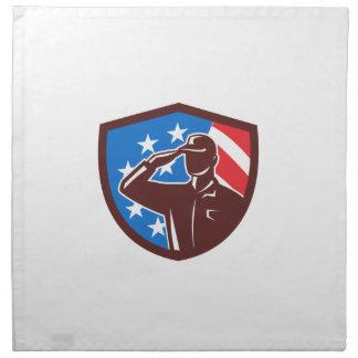 American Soldier Saluting USA Flag Crest Retro Napkin