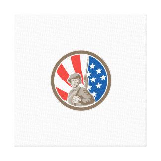 American Soldier Serviceman Bayonet Circle Retro Stretched Canvas Print