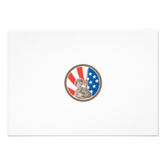 American Soldier Serviceman Bayonet Circle Retro Custom Announcements