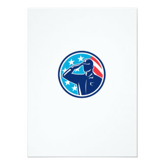 American Soldier Serviceman Saluting Flag Circle R Card