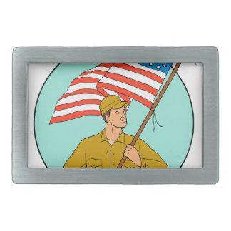 American Soldier Waving USA Flag Circle Drawing Belt Buckles