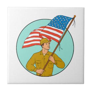 American Soldier Waving USA Flag Circle Drawing Ceramic Tile