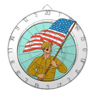 American Soldier Waving USA Flag Circle Drawing Dartboard