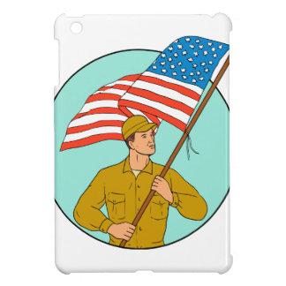 American Soldier Waving USA Flag Circle Drawing iPad Mini Cover