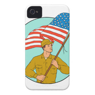 American Soldier Waving USA Flag Circle Drawing iPhone 4 Case-Mate Cases