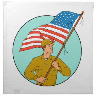 American Soldier Waving USA Flag Circle Drawing Napkin