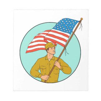 American Soldier Waving USA Flag Circle Drawing Notepad
