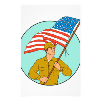 American Soldier Waving USA Flag Circle Drawing Stationery
