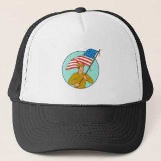 American Soldier Waving USA Flag Circle Drawing Trucker Hat