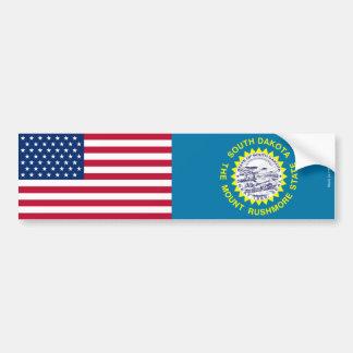 American & South Dakota Flags Bumper Sticker