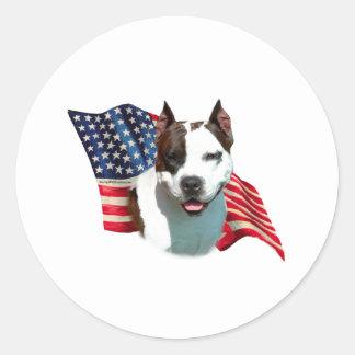 American Staffordshire Terrier Flag Classic Round Sticker