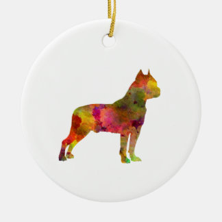 American Staffordshire Terrier in watercolor 2 Ceramic Ornament