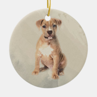 American staffordshire terrier puppy Sketch Paint Ceramic Ornament