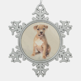 American staffordshire terrier puppy Sketch Paint Snowflake Pewter Christmas Ornament